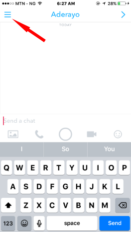Chat window on snapchat
