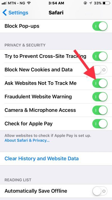 Enable ask websites not to track me feature