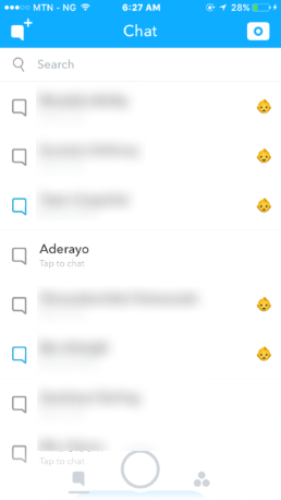 Snapchat chat list menu