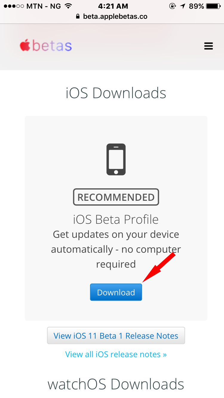 iOS 11 Beta profile download