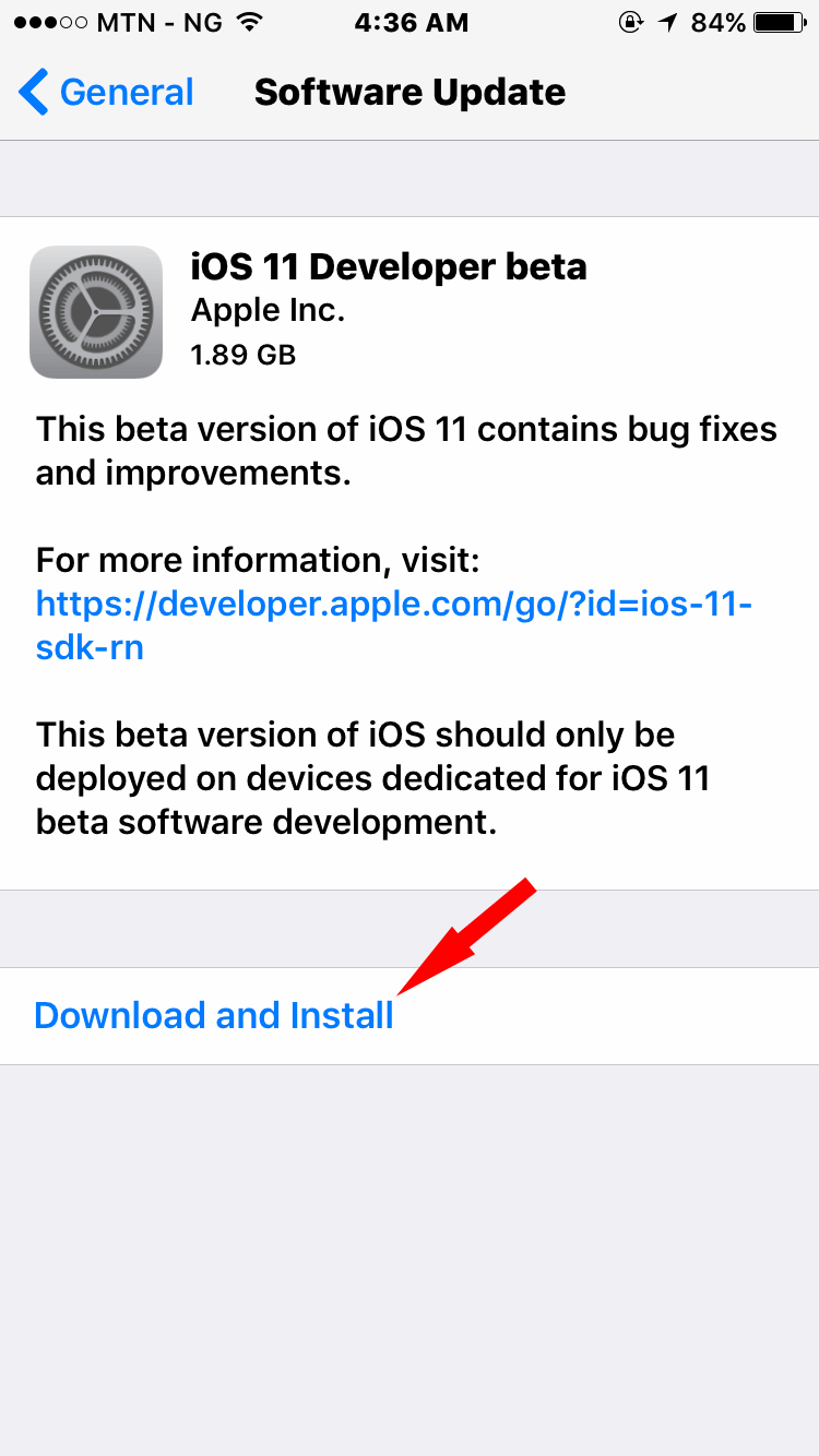 iOS 11 OS update on iPhone
