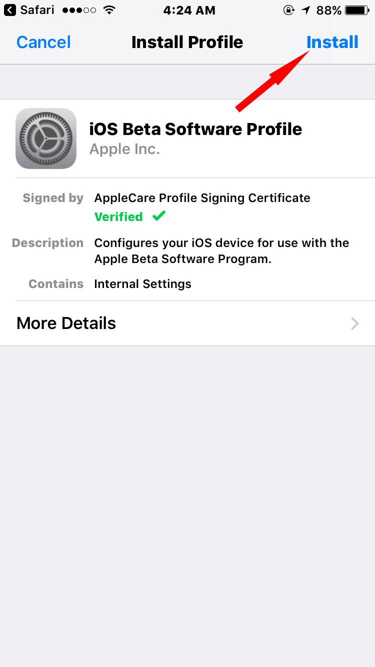 iOS 11 beta software profile on iPhone