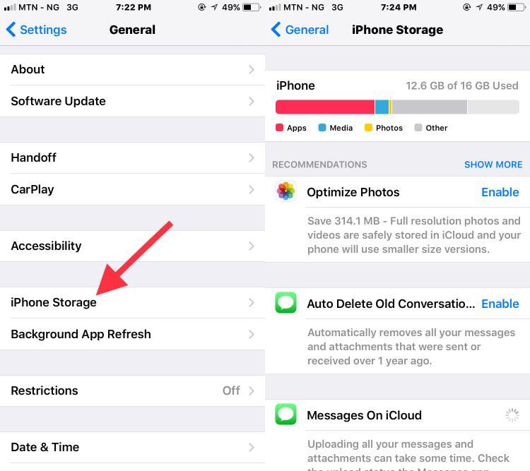 iPhone storage menu