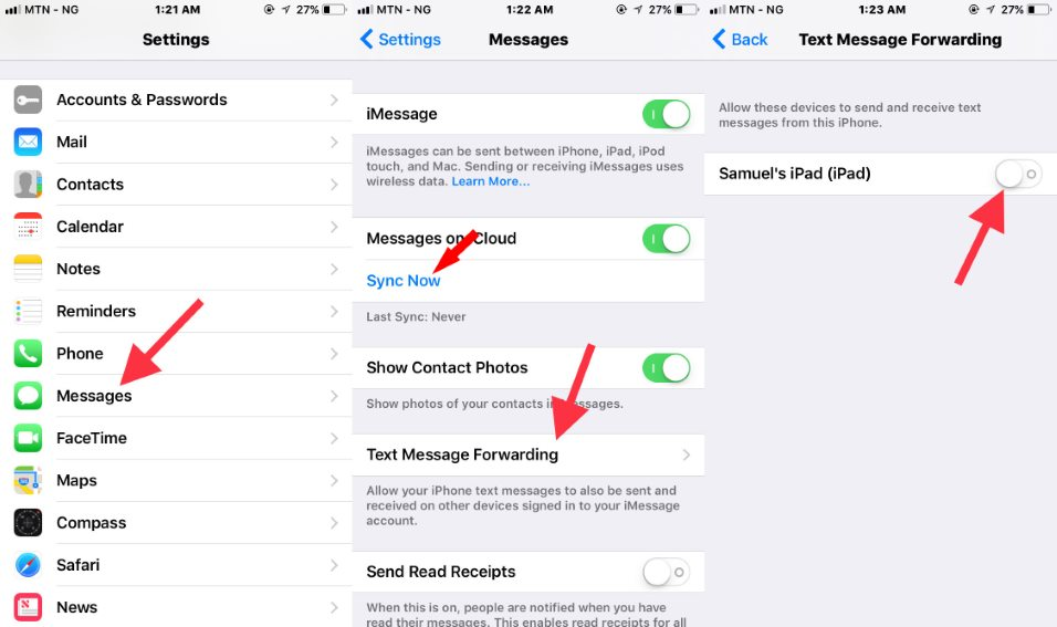 Deactivate iPhone to iPad messages sychronization