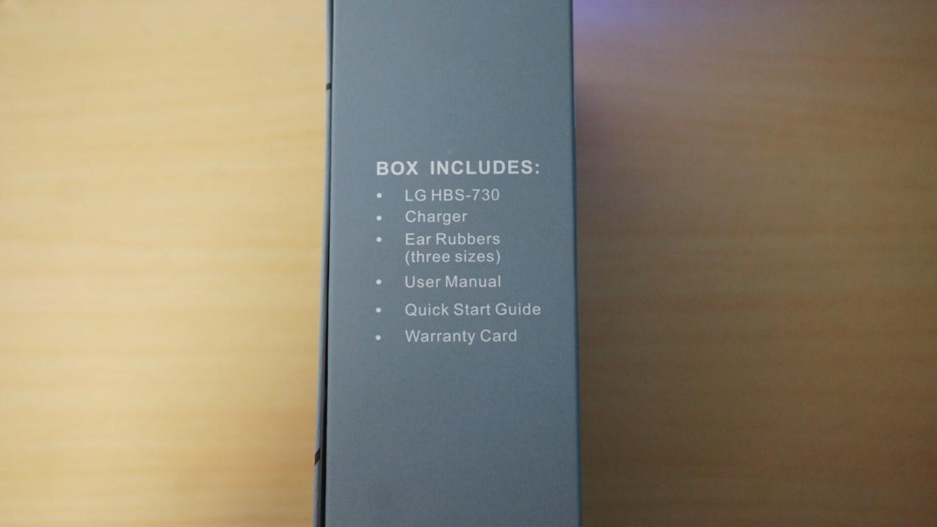 LG Tone+ HBS-730 box content