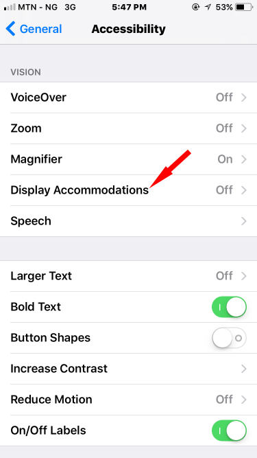 display accommodation on iOS 11