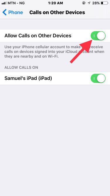 share phone calls to other devices on iOS 11