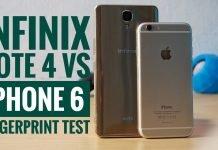 Infinix Note 4 VS iPhone 6 fingerprint test