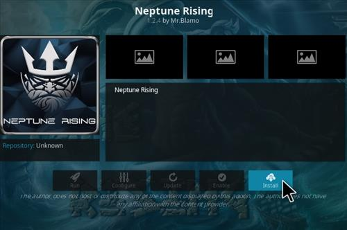 Neptune rising kodi add-on installed on kodi