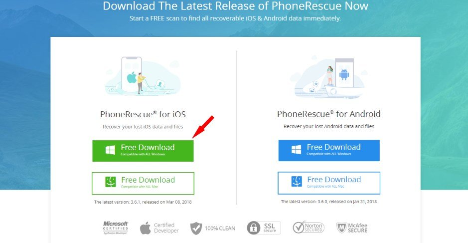 Download phonescue for iOS on windows