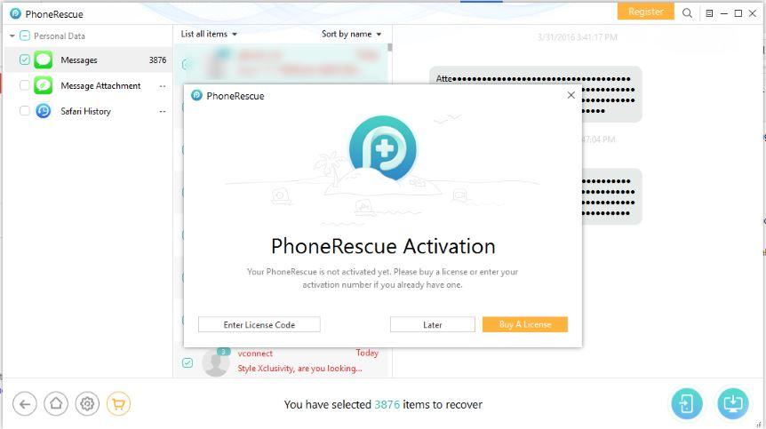 Enter phonerescue activation code