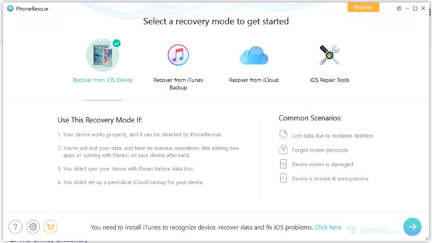 recovery modes available on the tool