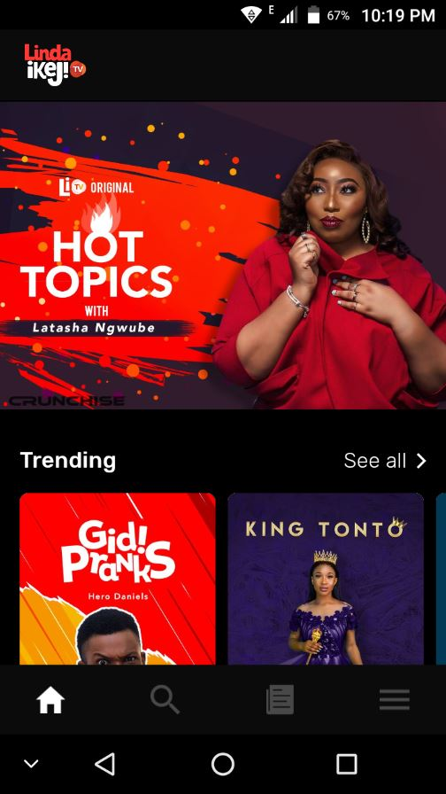 linda ikeji TV app User Interface