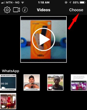 select choose on mutevideo app for iPhone