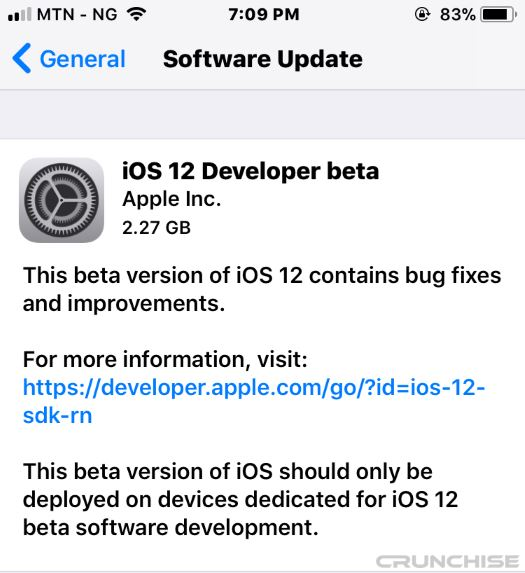 successfully install iOS 12 beta