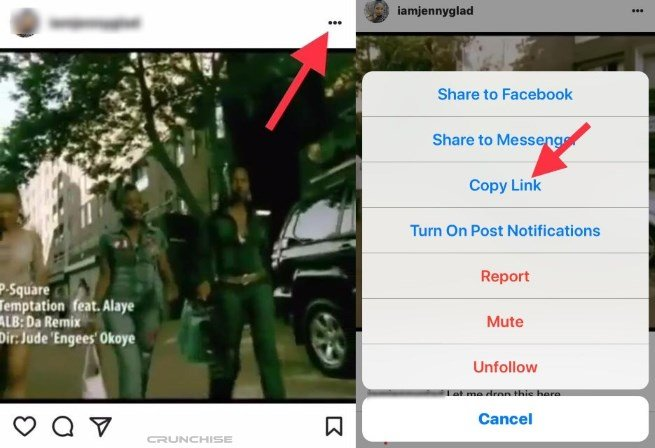 copy instagram video link